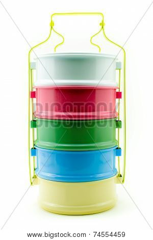 Bright And Colour Melamine Carrier Style Lunch Box Isolated Background .