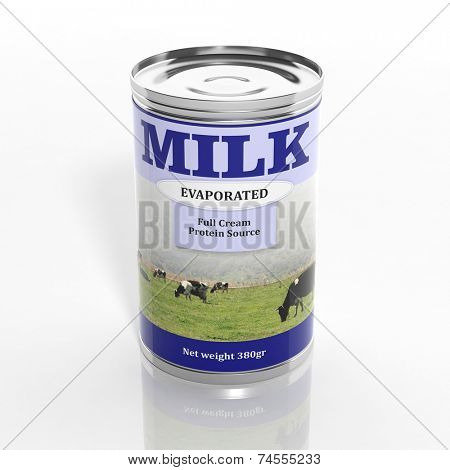 3D evaporated milk metallic can isolated on white