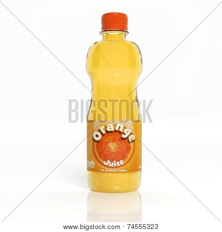 3D orange soda transparent glass bottle isolated on white