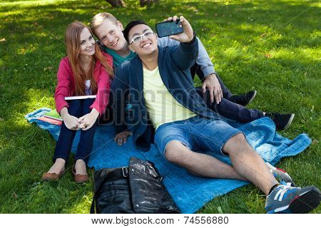 University Friends Taking Picture Of Themselves