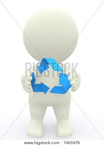 3D Man Holding Recycling Sign