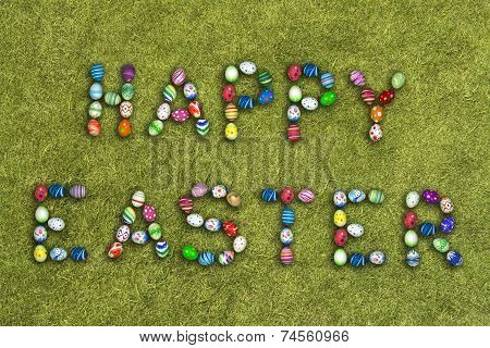 Easter Eggs On Grass