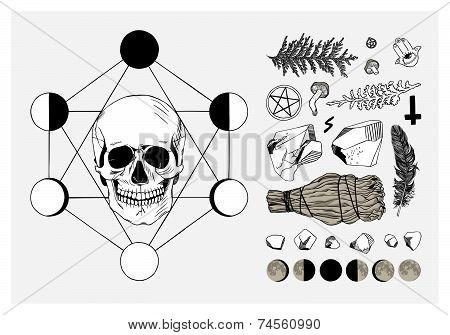 Vector set of ritual things, black contour