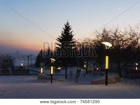 Evening Twilight In City Park.