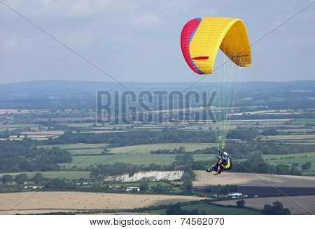 Parascending off of the South Downs