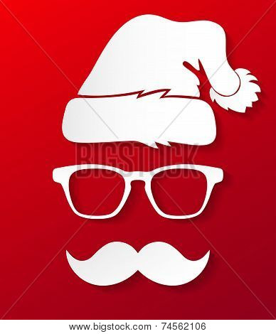 Hipster Santa Claus silhouette