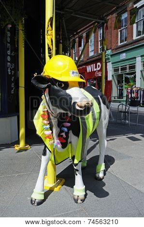Cow statue in safety gear, Nottingham.
