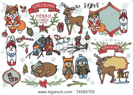Christmas graphic elements, cute cartoon birds