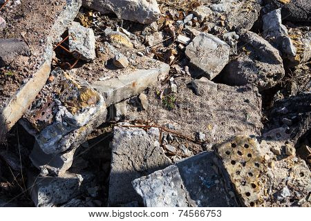 Heap Of The Damaged Concrete Blocks And Bricks