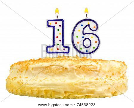 Birthday Cake Number Sixteen Isolated On White