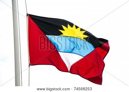 Flag Of Antigua Isolated On White