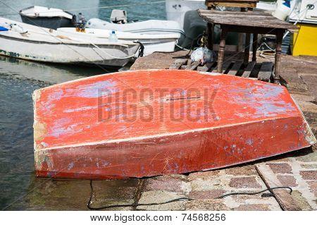 Old Overturned Fishing Boat