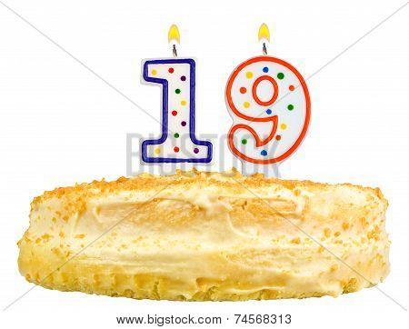 Birthday Cake Number Nineteen Isolated On White