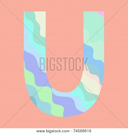 The letter U. Element of alphabet