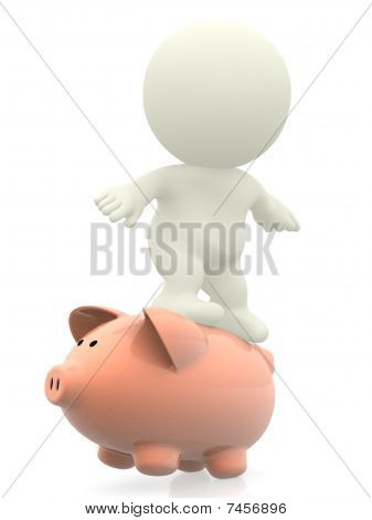 3D Man Surfing On Piggybank