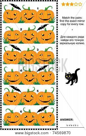 Halloween visual puzzle with rows of pumpkins