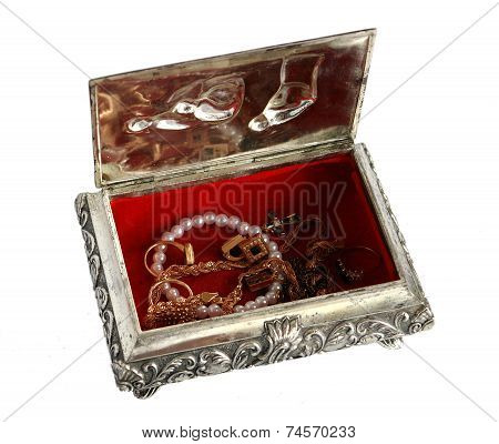 Old Silver Casket Casket With Jewelry