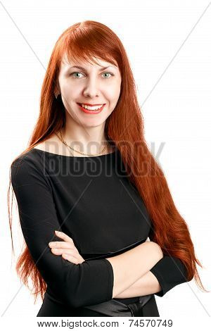Confident beautiful business redhead woman
