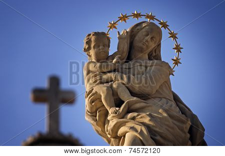 Statue Of Virgin Mary And Jesus