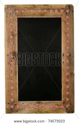 Chalkboard Christmas Restaurant Menu Board Reclaimed Wood Small Red Gingham Stars