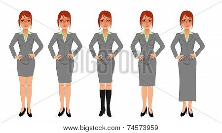 Redhead business woman grey skirt suit hands on hips