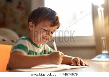 Little Boy Write Into Exercise Book