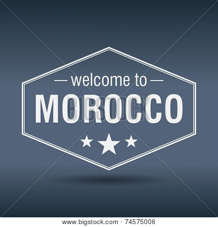 Welcome To Morocco Hexagonal White Vintage Label