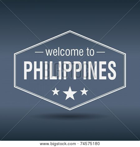 Welcome To Philippines Hexagonal White Vintage Label