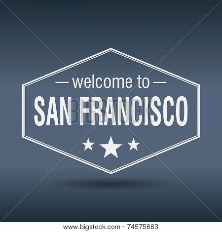 Welcome To San Francisco Hexagonal White Vintage Label