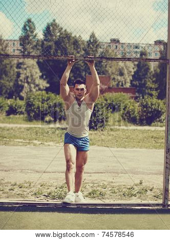 Ghetto Street Workout, Vintage Photo Handsome Man Posing In Urban Style
