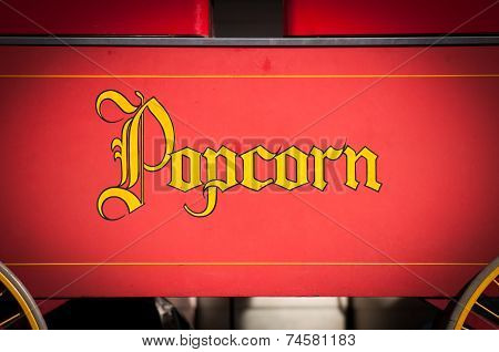 Vintage Style Yellow Popcorn Print On Red