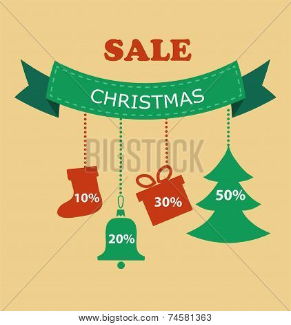 Large Christmas sale. Decorations with discount prices