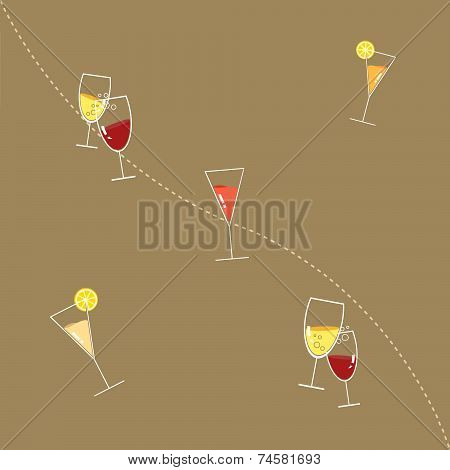 Glasses of Drink Seamless Pattern against Coffee Brown Background