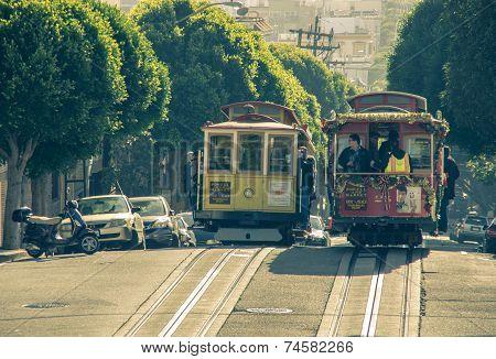Cable Car In San Francisco,california