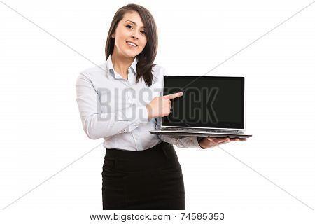 Businesswoman showing laptop netbook screen