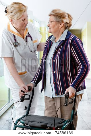 Health care worker and senior patient