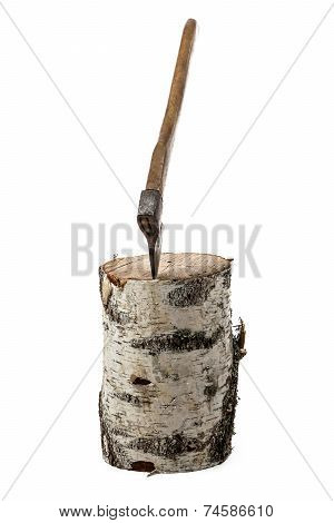 Photo of axe in the birch stump