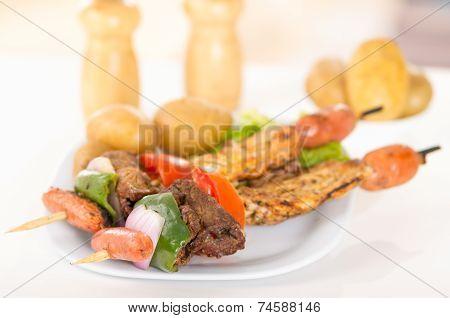 skewers shish kebab sticks grilled meat chicken