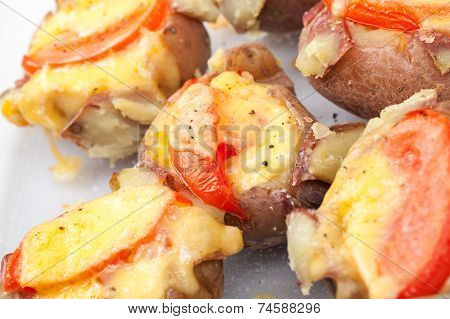 Homemade Baked Potato With Tomato, Bacon And Cheese