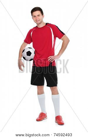 soccer player with a ball on white background