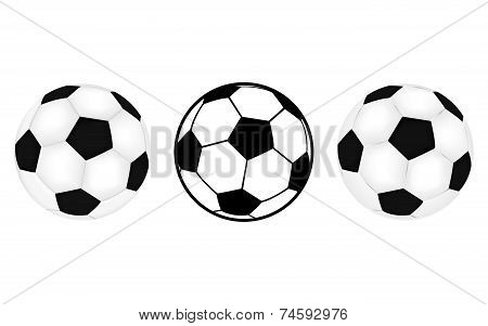 three footballs
