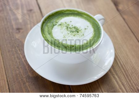 Matcha Green Tea Latte Beverage In Glass.