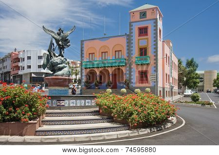 Central Square Of Tazacorte At La Palma Island, Canary Islands Spain
