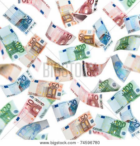 Falling Euro banknotes isolated on white background