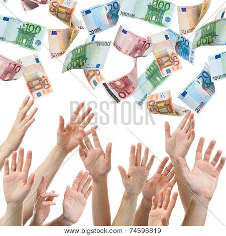 Hands reaching for Euro money flying in the air