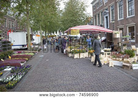 Flowers On The Market In Wijk Bij Duurstede