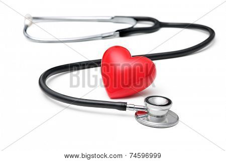 A  heart with a stethoscope  isolated on white background