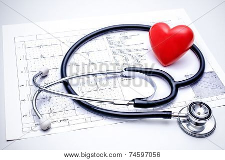 Stethoscope with a red heart on the top of the ECG chart