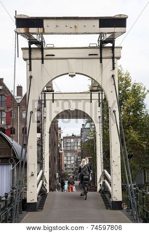 Drawbridge On Prinseneiland In Amsterdam