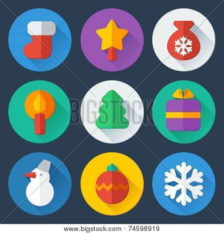 Christmas flat icons vector set